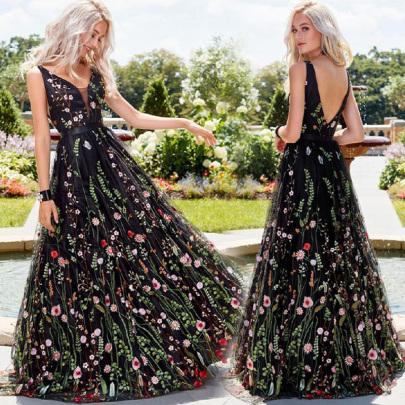 Sexy Deep V Sleeveless Embroidered Dress NSYAY58941
