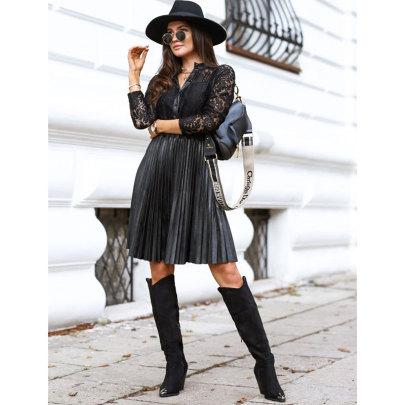 New Style Black Leather Stitching Lace Long-sleeved Waist Dress NSJIM58934
