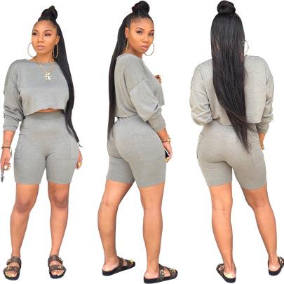 Fashion Round Neck Long Sleeve Sweater Pocket Shorts Set Two Piece Set NSSJW58865