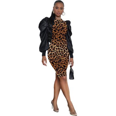 Fashion Sexy Leopard Print Round Neck Pullover Mid-waist Print Slim Skirt Dress NSSJW58889