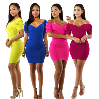 Fashion Sexy Multicolor Deep V-neck Hip Dress NSSJW58909