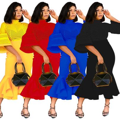 Fashion Mesh Stitching Lantern Sleeves Ruffled Dress NSSJW58918