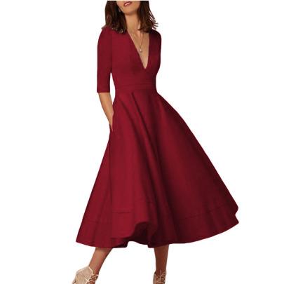 Fashion Solid Color V-neck Dress NSSJW58922