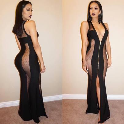 Hot Style Sexy Mesh Stitching Sleeveless Deep V One-piece Dress NSSJW58928