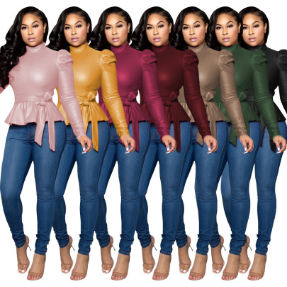 Fashion Casual Round Neck Long Sleeve Multicolor Pullover Top NSSJW58930