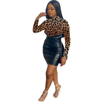Fashion Printing Leather Back Invisible Zipper Bag Hip Skirt Dress NSSJW58933