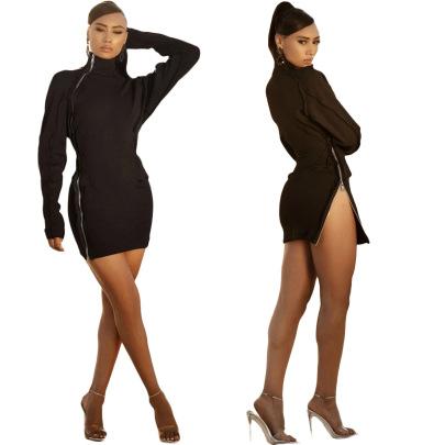 Fashion Solid Color Two-head Zipper Slim Dress NSOJS58991