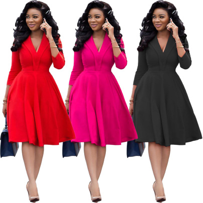 Hot Selling Sexy Fashion Solid Color Deep V Pleated Dress NSOJS59013