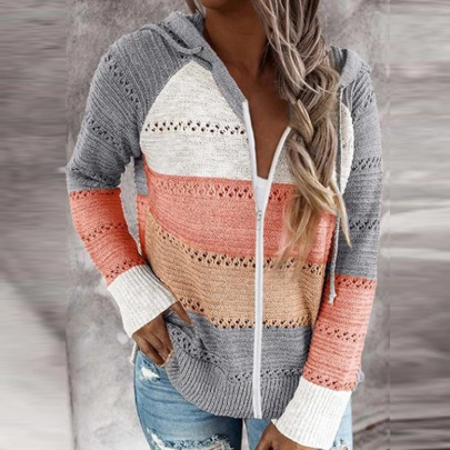 New Zipper Hooded Long-sleeved Sweater NSFM59019