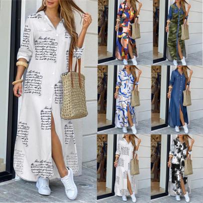 Summer Fashion Shirt Long Dress NSFM59024