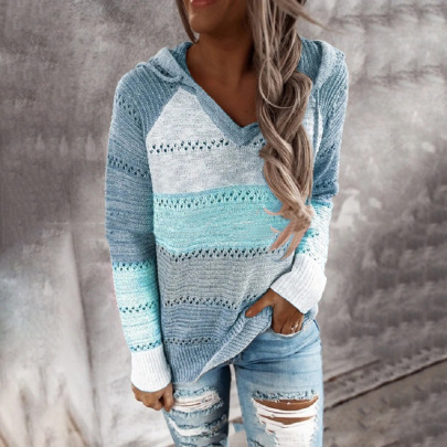 Stitching Three-color Sweater  NSFM59029