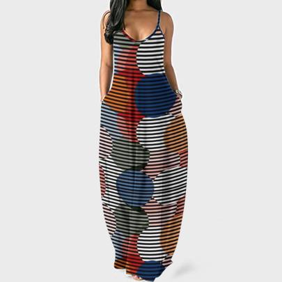 Printed Sleeveless Sling Dress NSFM59031