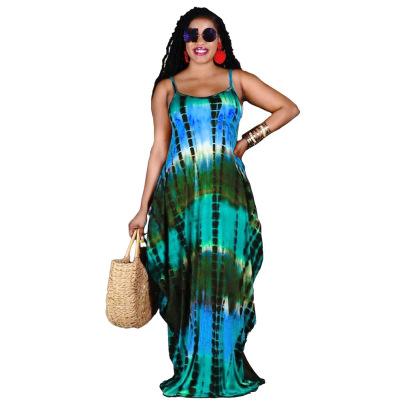 Summer Tie-dye Printing Loose Suspender Dress NSRM59035