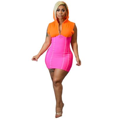 Summer Zipper Hooded Sleeveless Contrast Color Stitching Dress NSRM59041