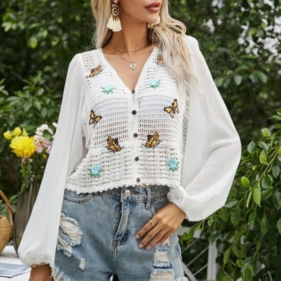 Fashion Crochet Knitted Hollow Butterfly Puff Sleeve Long Sleeve Shirt NSSUO59176