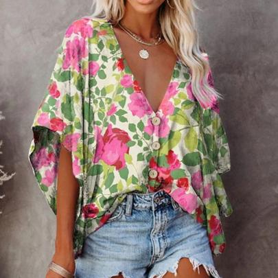 Fashion Loose V-neck Floral Short-sleeved Shirt NSSUO59177