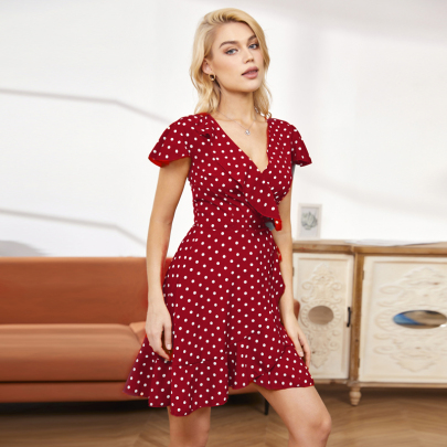 Fashion V-neck Polka Dot Print Short Sleeve Dress NSSUO59180
