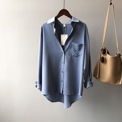 Fashion Pure Color Simple Temperament Long-sleeved Versatile Lapel Shirt NSSUO59181