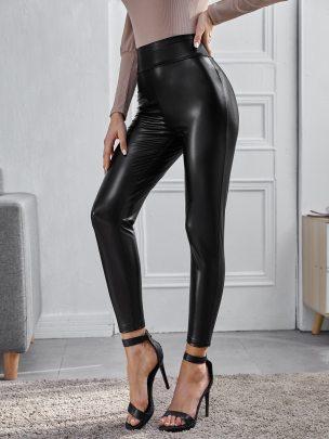 Fashion Plain Color Leather Pants NSCAI59170