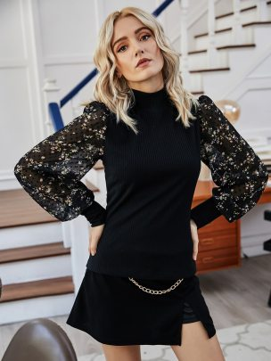 Fashion Chiffon Floral Long Sleeve Tops NSCAI59162