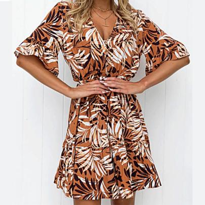 Spring And Summer New Light Summer V-neck Floral Skirt NSYIS59157
