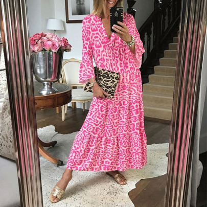 Spring And Summer New V-neck Floral Niche Long-sleeved Dress NSYIS59156