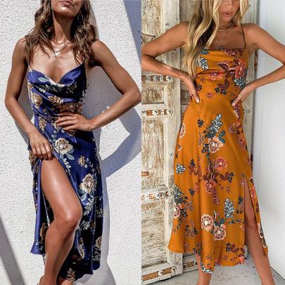 Spring And Summer New Sling Print Split Dress NSYIS59151