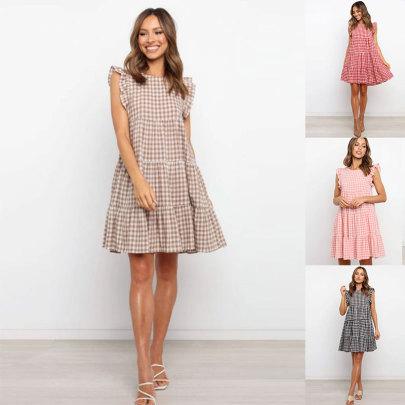 Plaid Sleeveless Round Neck A-line Skirt Pullover Loose Waist Short Skirt  NSJC59149