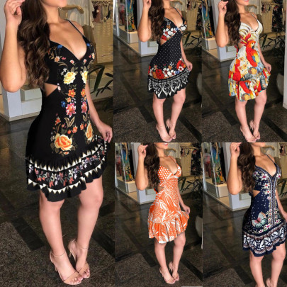 Summer New Fashion Sexy Hollow Printed Suspender Dress NSYF59319