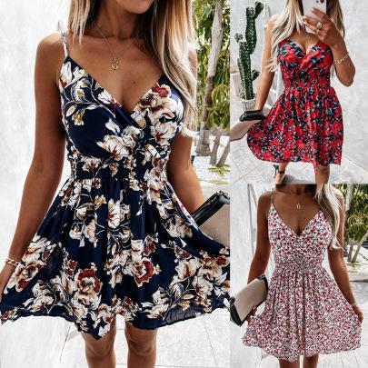 Summer New Floral Sling Waist V-neck Sexy Dress NSYF59321