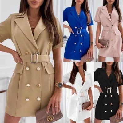 Summer New Fashion Waist Button Decoration Dress NSYF59324