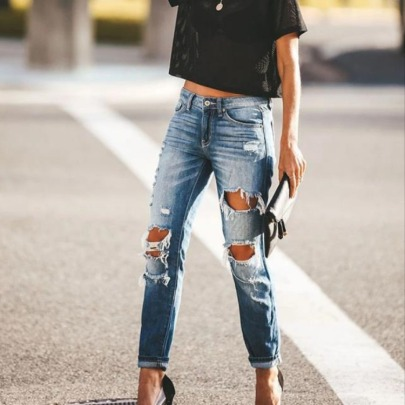 Summer New Small Feet Ripped Jeans NSYF59326