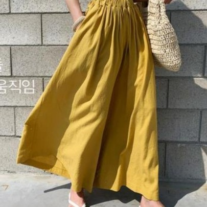 Summer Fashion Solid Color Linen Wide-leg Pants NSYF59327
