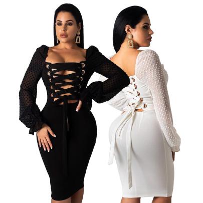 Sexy Strappy Floating Slub Chiffon Stitching Long-sleeved Dress NSSJW59332