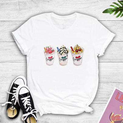 Three-color Ice Cream Cup Printing Summer Round Neck T-shirt NSYIC59350