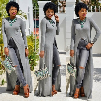 Fashion Sexy High-slit Long-sleeved Dress Jacket NSSJW58917