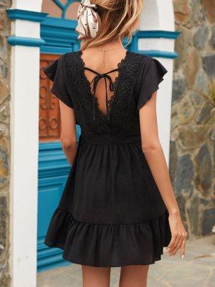 New Black Pure Color Short Comfortable Dresse NSCAI59495