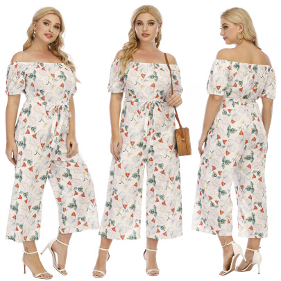 Plus Size Casual One-piece Butterfly Print One-way Neck Strap Wide-leg Jumpsuit NSOY59414