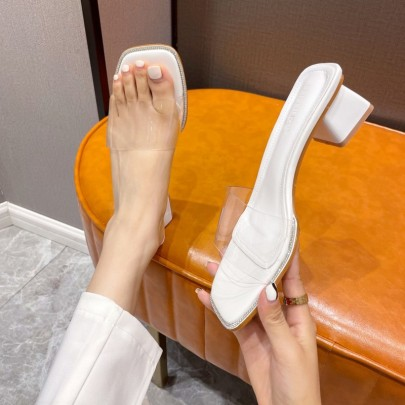 Outer Wear New Summer Thick-heeled Crystal Transparent Belt High-heeled Slippers NSHU59450