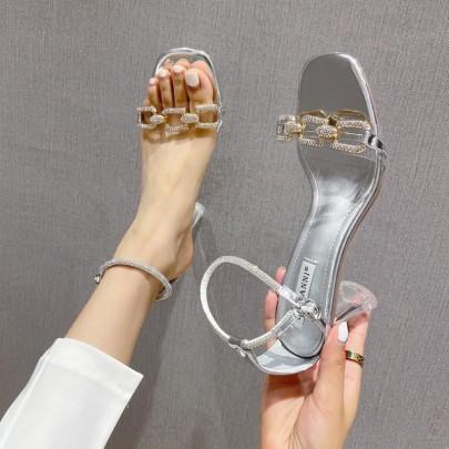 New Summer Fashion Thick Heel Rhinestone Transparent Sandals NSHU59454