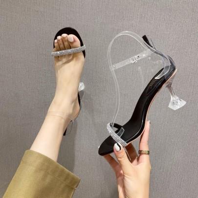 Summer New Fashion Word Rhinestone Belt High Heels Fashion Sandals NSHU59456