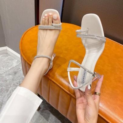 Summer New Thick Heel Set Toe High-heeled Shoes NSHU59457