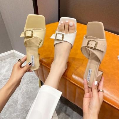 Thick Heel Belt Buckle One-word Mid-heel Summer Fashion Sandals NSHU59458