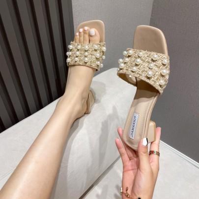 New Fashion Mid-heel Thick Heel Pearl High-heeled Flip Flops Shoes NSHU59459