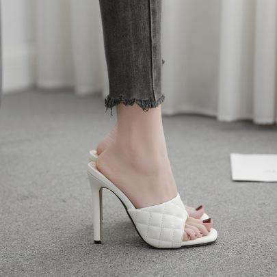 Stitching Rhombus Square Toe High-heel Sandals NSSO59506