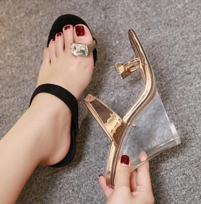 Wedge High-heeled Large Rhinestone Set Toe Sandals NSSO59507