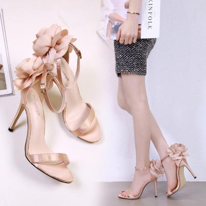 Thin High-heeled Big Flowers Satin Sandals NSSO59508