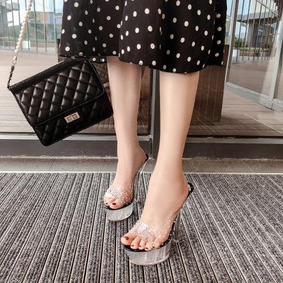 Fancy Transparent Diamond Slippers Stiletto Sandals NSSO59509