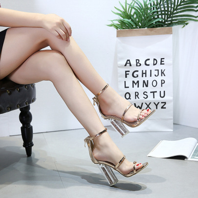 New Sequined High Transparent Heels NSSO59516