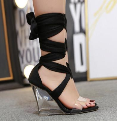 Fashion Solid Color Clear Heeled Sandals NSSO59522